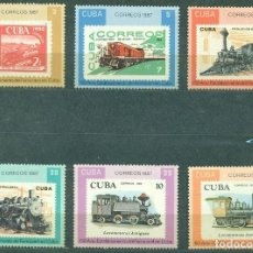 Sellos: CUBA 1987 THE 150TH ANNIVERSARY OF THE CUBAN RAILWAY MNH - THE TRAINS. Lote 241344860