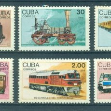 Sellos: CUBA 1988 RAILWAY DEVELOPMENT MNH - THE TRAINS, LOCOMOTIVES. Lote 241345000