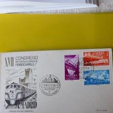 Sellos: ESPAÑA 1958 FERROCARRILES MATASELLO PRIMER DÍA CIRCULACIÓN SFC A 64 EDIFIL 1235 2236 1237 USADO. Lote 244803225