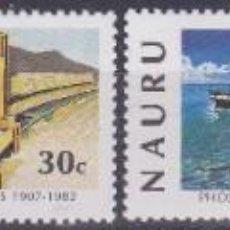 Sellos: SERIE COMPLETA NAURÚ 1982 TREN FERROCARRIL BARCO. Lote 245023065