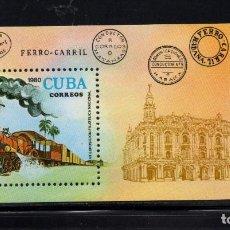 Sellos: CUBA HB 64** - AÑO 1980 - TRENES - TREN POSTAL - 7º EXPOSICION FILATELICA NACIONAL. Lote 245971525
