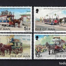 Sellos: 1976 ISLA DE MAN YVERT71/74 TRANSPORTE, TRANVÍAS TIRADOS POR CABALLOS - MNH** NUEVOS SIN FIJASELLOS. Lote 261697055