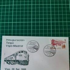 Sellos: TRENES TRASPORTES VIGO PONTEVEDRA GALICIA MATASELLO TALGO VIGO MADRID MATASELLO. Lote 253222655