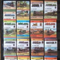 Sellos: R113C-LOTES SELLOS TRENES FERROCARRIL LOCOMOTORAS TRANVIAS,RAIL WAY COLONIAS INGLESAS, BEQUIA,SAN VI. Lote 254042765