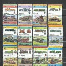 Timbres: R113F-LOTES SELLOS TRENES FERROCARRIL LOCOMOTORAS TRANVIAS,RAIL WAY COLONIAS INGLESAS, BEQUIA,SAN VI. Lote 254042990