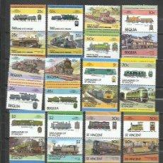 Timbres: R113H-LOTES SELLOS TRENES FERROCARRIL LOCOMOTORAS TRANVIAS,RAIL WAY COLONIAS INGLESAS, BEQUIA,SAN VI. Lote 254043170