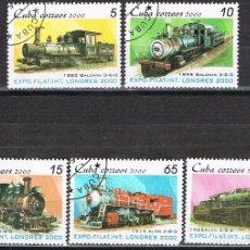 Sellos: CUBA Nº 4286/90, LOCOMOTOTRAS, USADO (SERIE COMPLETA) TODAS CON SU NOMBRE Y FECHA. Lote 254785530