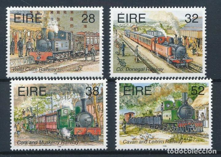 IRLANDA 1995 IVERT 889/92 *** TRANSPORTES EN IRLANDA (V) - FERROCARRILES - TRENES (Sellos - Temáticas - Trenes y Tranvias)