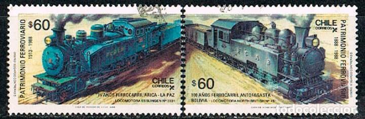 CHILE 1207/8, PATRIMONIO FERROVIARIO, LOCOMOTORAS TIPO 469 Y NORTH BRITISH Nº 45, USADO SERIE COMPLE (Sellos - Temáticas - Trenes y Tranvias)