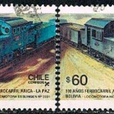 Sellos: CHILE 1207/8, PATRIMONIO FERROVIARIO, LOCOMOTORAS TIPO 469 Y NORTH BRITISH Nº 45, USADO SERIE COMPLE. Lote 257502845