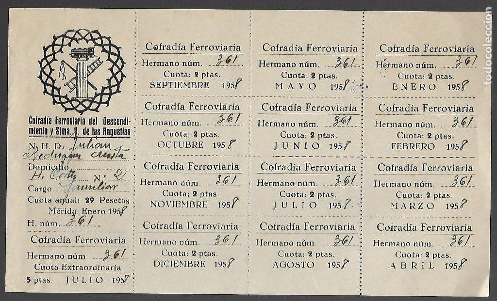 MERIDA, COFRADIA DE FERROVIARIOS, CUOTAS DE 12 MESES, AÑO 1958, VER FOTOS (Sellos - Temáticas - Trenes y Tranvias)
