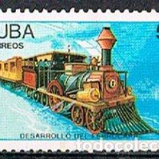 Sellos: CUBA Nº 3233, LOCOMOTORA LA JUNTA DEL AÑO 1850, SIN MATASELLAR. Lote 260076415