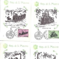 Sellos: TRENES. 10 TARJETAS MAXIMAS. SAN MARINO 1964. Lote 260080055