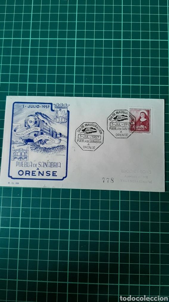 PUEBLA SANABRIA ORENSE MATASELLO INAUGURACIÓN LINEA FERROCARRIL 1957 CERTIFICADO DESTINO GOMIS VALEN (Sellos - Temáticas - Trenes y Tranvias)