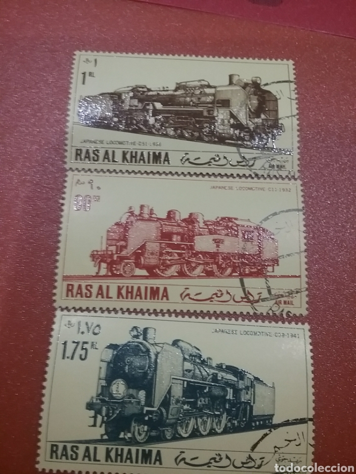 SELLO RAS AL KHAIMA MTDO (E.A.U)/1971/LOCOMOTORAS/JAPONESAS/TRENES/FERROCARRIL/TRANSPORTE/TRANVIA/VA (Sellos - Temáticas - Trenes y Tranvias)