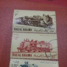 Sellos: SELLO RAS AL KHAIMA MTDO (E.A.U)/1971/LOCOMOTORAS/JAPONESAS/TRENES/FERROCARRIL/TRANSPORTE/TRANVIA/VA. Lote 261612860