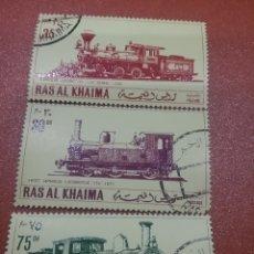 Sellos: SELLO RAS AL KHAIMA MTDO (E.A.U)/1971/LOCOMOTORAS/JAPONESAS/TRENES/FERROCARRIL/TRANSPORTE/TRANVIA/VA. Lote 261613075