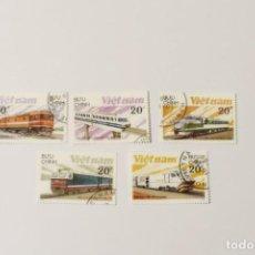 Timbres: 5 SELLOS DE TRENES DE VIETNAM. Lote 262068095