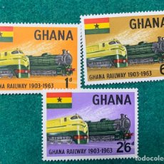 Sellos: GHANA RAILWAY FERROCARRILES AÑO 1963. NUEVOS SIN FIJASELLOS. Lote 267407144