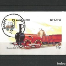 Sellos: STAFFA - ESCOCIA. HOJA BLOQUE TEMA TRENES. Lote 275615188