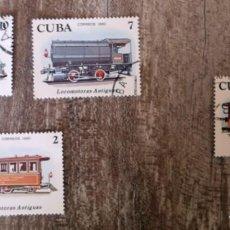 Timbres: SELLOS SELLOS CUBA AÑO 1980. CON MATASELLOS. TRENES LOCOMOTORAS ANTIGUAS. Lote 276395748