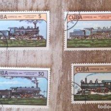 Sellos: SELLOS SELLOS CUBA AÑO 1984. CON MATASELLOS. TRENES LOCOMOTORAS ANTIGUAS. Lote 276396883