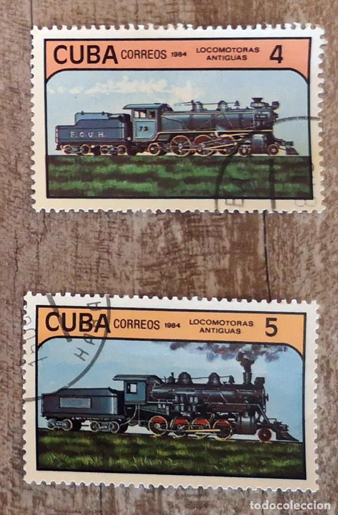 SELLOS SELLOS CUBA AÑO 1984. CON MATASELLOS. TRENES LOCOMOTORAS ANTIGUAS (Sellos - Temáticas - Trenes y Tranvias)