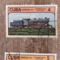 Sellos: SELLOS SELLOS CUBA AÑO 1984. CON MATASELLOS. TRENES LOCOMOTORAS ANTIGUAS. Lote 276397193