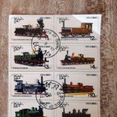 Timbres: OMAN 1977 - 8 SELLOS EN HOJA SELLADOS TRENES. Lote 276397968