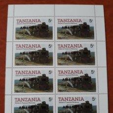 Sellos: DOS HOJAS BLOQUE TANZANIA. LOCOMOTORA 3022 2.8.4. Lote 276450688