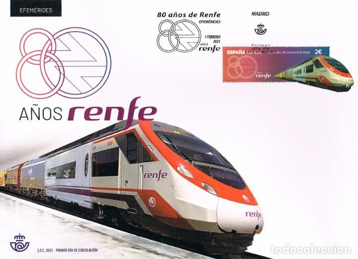 80 ANIVERSARIO DE RENFE, PRIMER DIA DE 1-2-2021 (Sellos - Temáticas - Trenes y Tranvias)