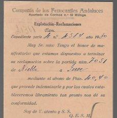 Sellos: COMPAÑIA DE FERROCARRILES ANDALUCES- SERVICIO DE MOVIMIENTOS, VER FOTOS. Lote 283501908