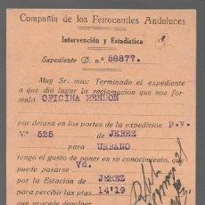 Sellos: COMPAÑIA DE FERROCARRILES ANDALUCES- INTERVENCION Y ESTADISTICAS, VER FOTOS. Lote 283502043