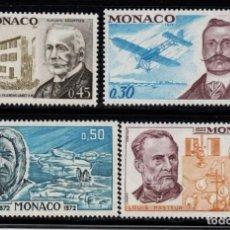 Sellos: MONACO 910/13** - AÑO 1972 - ANIVERSARIOS - BERLIOT , ESCOFFIER, AMUNDSEN, PASTEUR. Lote 288089093