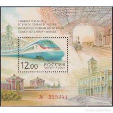 Sellos: RU699 RUSSIA 2001 MNH THE 150TH ANNIVERSARY OF THE 1ST RUSSIAN RAILROAD. Lote 293412088