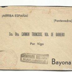 Sellos: FRANQUICIA TREN HOSPITAL CENSURA MILITAR BARCELONA CIRCULADA A BAYONA POR VIGO PONTEVEDRA. Lote 293789048