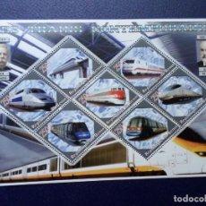 Sellos: .BENIN, 2006, HOJA BLOQUE TRENES CONTEMPORANEOS. Lote 296611608