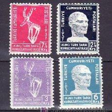 Sellos: TURQUIA 878/81 CON CHARNELA, 2º CONGRESO NACIONAL DE HISTORIA, . Lote 10040144