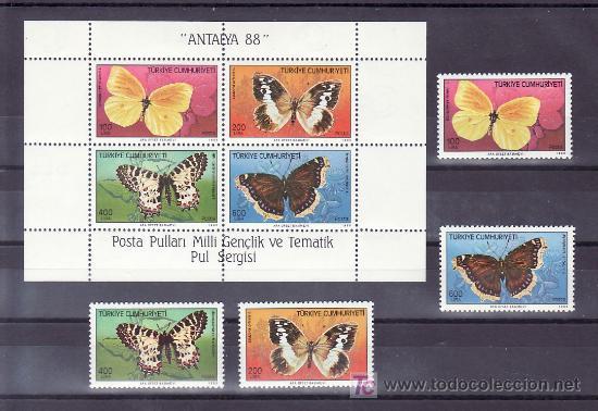 TURQUIA 2582/5, HB 28 SIN CHARNELA, FAUNA, MARIPOSAS, (Sellos - Extranjero - Europa - Turquía)