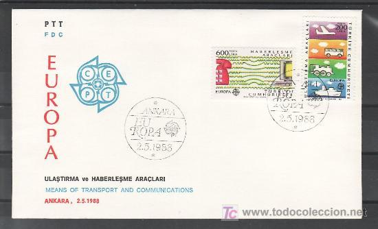TURQUIA 2557/8 PRIMER DIA, TEMA EUROPA 1988, TRANSPORTE Y TELECOMUNICACIONES, (Sellos - Extranjero - Europa - Turquía)