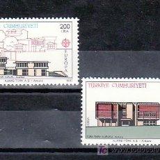Sellos: TURQUIA 2533/4 SIN CHARNELA, TEMA EUROPA 1987, ARQUITECTURA MODERNA, . Lote 10815670