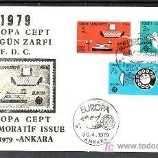 Sellos: TURQUIA 2246/8 PRIMER DIA, TEMA EUROPA 1979, HISTORIA DEL CORREOS. Lote 10815678