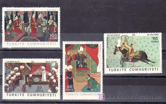 TURQUIA 1855/8 SIN CHARNELA, ARTE, MUSICA, MINIATURAS TURCAS, (Sellos - Extranjero - Europa - Turquía)