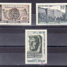 Sellos: TURQUIA 1582/4 SIN CHARNELA, 25º ANIVERSARIO DE LA FACULTAD DE HISTORIA, LENGUA Y GEOGRAFIA,. Lote 183800251