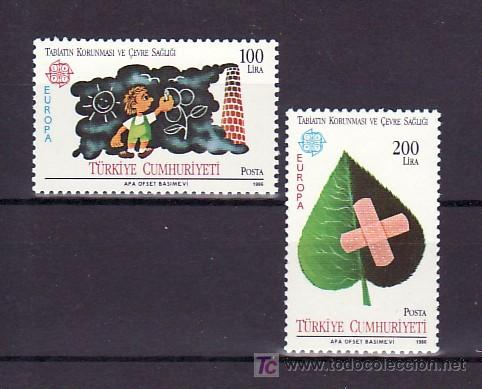 TURQUIA 2494/5 SIN CHARNELA, TEMA EUROPA 1986, INFANCIA, PROTECCION DE LA NATURALEZA Y DESARROLLO, (Sellos - Extranjero - Europa - Turquía)