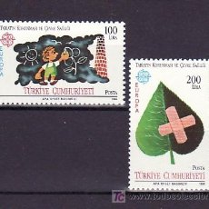 Sellos: TURQUIA 2494/5 SIN CHARNELA, TEMA EUROPA 1986, INFANCIA, PROTECCION DE LA NATURALEZA Y DESARROLLO,. Lote 11889346
