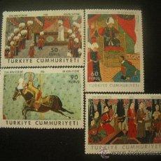 Sellos: TURQUIA 1968 IVERT 1855/8 *** PINTURA - MINIATURAS TURCAS. Lote 22724222