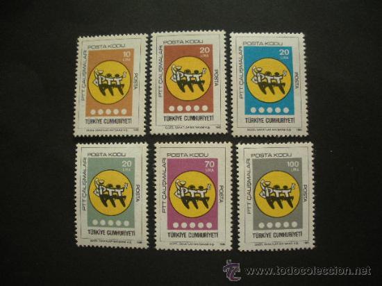TURQUIA 1985 IVERT 2476/81 *** SERIE BÁSICA - OUESTA EN VIGOR DEL CÓDIGO POSTAL (Sellos - Extranjero - Europa - Turquía)