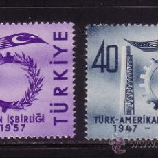 Sellos: TURQUIA 1322/23*** AÑO 1957 - 10º ANIVERSARIO DE LA COOPERACION TURCO - AMERICANA. Lote 36249317