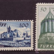 Sellos: TURQUIA 1339/40*** - AÑO 1957 - 750º ANIVERSARIO DEL NACIMIENTO DEL FILÓSOFO MEVLANA - MONUMENTOS. Lote 36249326